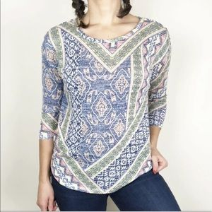 Almost Famous colorful multi-print lightweight top